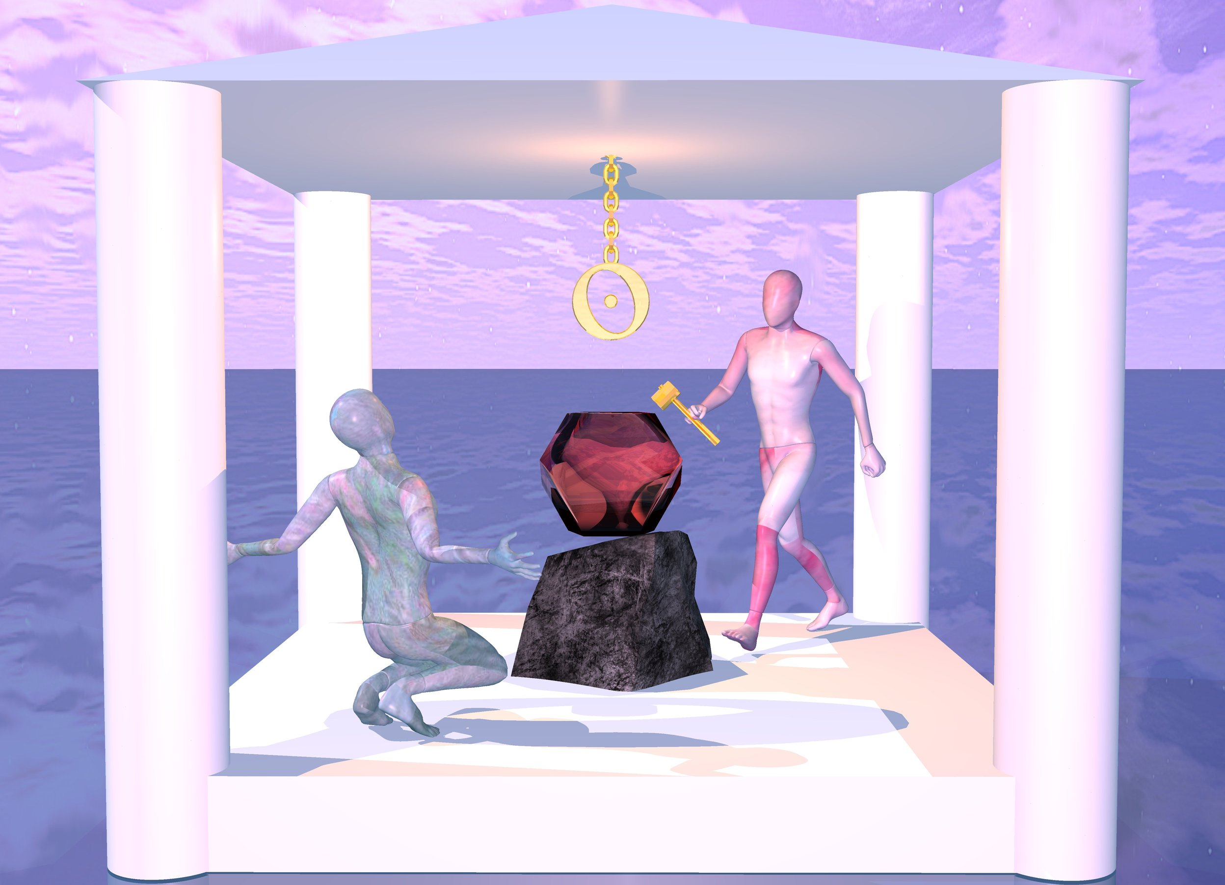 Input text: ground is shiny petrol blue.  a temple. rock is 11 feet in temple. clear quartz pink dodecahedron is 1 inch in rock.  dodecahedron is upside down.  first [texture] mannequin is -1 foot right of rock and -1 foot to back.  first mannequin is 9.01  feet in temple. first mannequin is  facing southwest. gold hammer is -1.1 foot left of  first mannequin and 3.9 feet above ground. hammer is -1.86 foot to front. hammer is leaning 45 degrees to right. second [texture] mannequin is -2 foot left of rock and -0.5 foot to front. second mannequin is 9 foot in temple. second mannequin is facing rock. gold chain is 3.5 feet above rock. chain is leaning 90 degrees to front. small gold sun symbol is 2.5 feet above rock and -2 feet to back.  ambient light is azure blue. sun is lilac. camera light is wildness. old gold light is  in front of chain.
