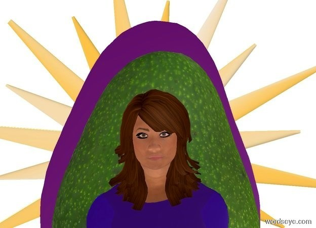 Input text: a 1st flat avocado leans 90 degrees to the right. backdrop is white. a flat .81 foot tall woman is in front of and -.45 feet beneath and -.285 feet right of the avocado. camera light is dim. ambient light is linen. sun is sea mist blue. sky is purple. a 2nd flat .54 foot wide silver avocado leans 90 degrees to the right. it is behind the avocado. a .625 foot wide flat goldenrod sun symbol is behind the 2nd avocado. the woman's shirt is shiny blue.