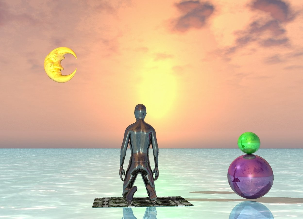 Input text: the ground is shiny water. a large yoga mat there is a black shiny mannequin on the yoga mat. the black shiny mannequin is facing north. a large shiny purple sphere is 3 feet to the right of the black shiny mannequin. a green shiny sphere is on top of the large shiny purple sphere. the shiny orange moon is 1.5 feet above the black shiny mannequin. the shiny orange moon is 2 feet behind the mannequin. the shiny orange moon is facing the large shiny purple sphere. the shiny orange moon is 2 feet to the left of the mannequin.
