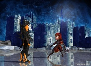 fantasy backdrop.the shiny 3d ground is visible.the 3d ground is 1000 feet wide.a knight.the knight is facing southwest.a tall warrior is 2 feet in front of the knight.the warrior is facing northeast.the warrior is left of the knight.a large blue lightning bolt is 6 inches behind the warrior.it is above the warrior.