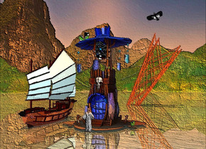 mountain backdrop.the shiny 3d ground is visible.a tower.a junk is 1 feet left of the tower.it is 1.5 feet in the ground.the junk's sail is sea mist blue.the junk's railing is gold.the junk is shiny.a person is -15 inches in front of the tower.a bird is 7 inches right of the tower.it is above the tower.the bird is facing southwest.sun is old gold.a upside down shiny rig is 50 feet behind the tower.it is 12 feet in the ground.it is leaning 30 degrees to the left.the rig is rust.it is noon.