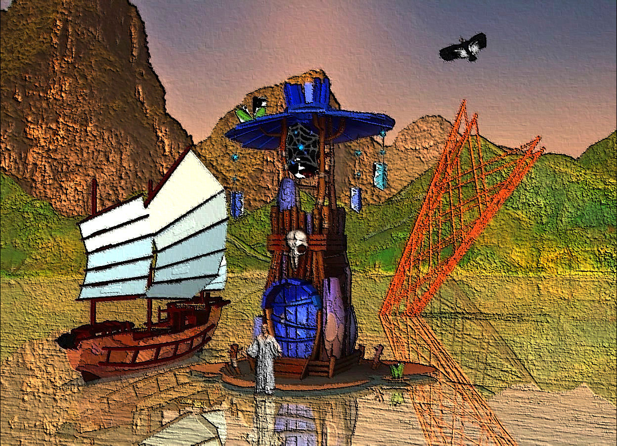Input text: mountain backdrop.the shiny 3d ground is visible.a tower.a junk is 1 feet left of the tower.it is 1.5 feet in the ground.the junk's sail is sea mist blue.the junk's railing is gold.the junk is shiny.a person is -15 inches in front of the tower.a bird is 7 inches right of the tower.it is above the tower.the bird is facing southwest.sun is old gold.a upside down shiny rig is 50 feet behind the tower.it is 12 feet in the ground.it is leaning 30 degrees to the left.the rig is rust.it is noon.
