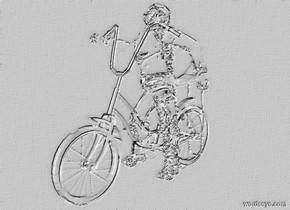 a    bicycle.sky is white.ground is invisible.the frame of the bicycle is clear..the wheel  of the bicycle is clear white.a 45 inch tall  clear man is -40 inch above the bicycle.the helmet of the man is clear white.the glove of the man is clear .the shoe of the man is clear.