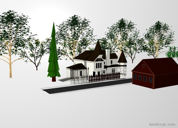 Input text: THE WHITE BACKDROP. Ground is invisible.  There is a house.  The ground has a grass texture.  There is a small pine tree to the left of the house.  There are five maple trees behind the house.  There are ten rubber trees behind the maple trees.  There are ten cherry trees behind the maple trees.  There is a long fence in front of the house.  There is a long fence next to the fence.  There is a long fence next to the fence.  There is a long street in front of the fence.  The street is facing left.  There is a street to the right of the  street.  The street is facing left.  There is a  house in front of the street.  The house is facing left.