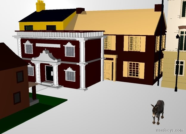 Input text: THE WHITE BACKDROP. ground is transparent.  the ground is small cobblestone.  a black street lamp is 15 feet behind the donkey. a well is 8 feet right of the donkey. 5  houses  are twenty feet  behind the donkey.  two town houses are twenty feet left of the donkey. three town houses are twenty feet right of the donkey.