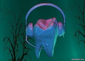 a 100 inch tall shiny delft blue tooth.sky is  fantasy.ground is invisible.a 90 inch tall shiny delft blue headset is -60 inch above the tooth.two red lights are 50 inch above the headset.six  malachite green lights.sun is malachite green.sky is 6500 feet tall.
