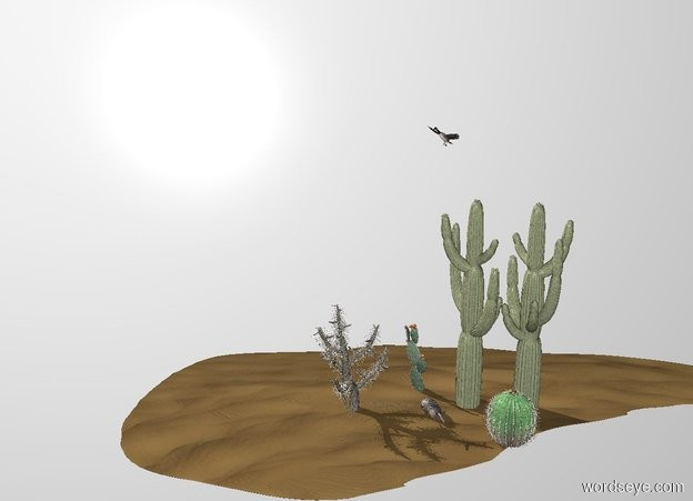 Input text: THE WHITE BACKDROP. Ground is invisible. 2nd large cactus is 0.7 feet right of the 1st large cactus. 3rd large cactus is 0.3 feet left of and 0.8 feet to the front of the 1st cactus. 4th large cactus is 0.3 feet in front of and -0.3 feet right of the 2nd cactus. 5th large cactus is right of the 2nd cactus. it faces back. a large armadillo is in front of and -0.9 feet right of the 1st cactus. it faces southeast. a large branta is 3.5 feet above and -1.7 feet left of the 2nd cactus. it faces southwest. The  cactus is -1 feet above a 50 foot wide 20 foot long 1 foot tall dune.