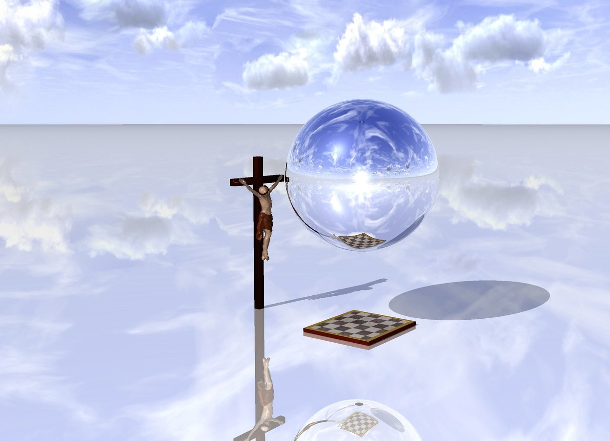 Input text: The large checker board is several inches behind the small cross The cross is 2 feet behind the large checker board. The ground is shiny. The giant silver sphere is 2 feet above the large checker board.