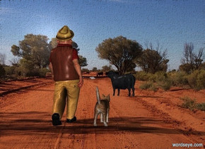 road backdrop.a man.a large cat is 6 inches left of the man.the sun's altitude is 145 degrees.a bull is 25 feet in front of the man.it is facing southeast.sun is 75% rust.