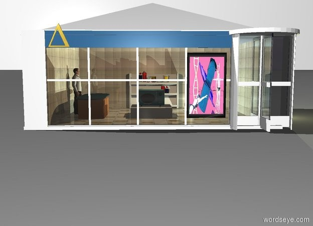 Input text: the white backdrop. a window. window's pane is clear linen. white 3 foot tall revolving door is -3 inch right of window. first 6 foot long and 3 foot tall 20% reflective [tile] wall is -3 inch left of window and -3 inch to back. wall is facing right. third 6 foot long and 3 foot tall 20% reflective [tile] wall is -10  inch right of revolving door and -10 inch to back. wall is facing right. fourth 8.2 foot long and 3 foot tall 20% reflective [tile] wall is -8 inch left of third wall and -8 inch to back. 8 foot wide and 1.5 foot tall  white pyramid is -2 inch above window and -2.8 inch to back. pyramid is 6.5 foot deep.  pyramid is -6.5 foot to right. 6 foot long and 0.5 foot tall square is 0.01 inch in front of window and 2.5 feet above ground. square is 0.1 inch deep. square is fjord blue. 0.7 foot tall gold uppercase delta is -0.1 inch in front of square and -1 foot to left. 2 foot tall and 1.2 foot wide painting is 0.1 inch in front of window and -1.5 foot to right. painting is 0.35 foot above ground. painting is [scene-86042]. primrose yellow light is 6 inch below pyramid. 8 foot wide and 8 foot long  20% reflective [concrete] floor is -3 inch behind window and -6.5 foot to right. floor is 6.5 foot deep. floor is 0.1 inch in ground. 1 foot tall and 3 foot long kitchen counter is -1.8 foot left of window and 1 foot to back. counter is 1 foot deep. counter is facing right. counter is 3 inch in floor. 1.8 foot tall man is left of counter.  man is facing right. man is 0.1 inch in floor. 1.8 foot tall white book cart is 0.7  foot right of counter and 1 foot to back. first powder blue  light is in front and right  of book cart. 0.6 foot tall and 1.5 foot wide white cube  is 0.9 foot right of counter. cube is 1.5 foot deep. pepper gray light is 1 foot above cube. small powder blue microwave oven is on cube. first junk is -0.4 foot above book cart and -0.35 foot to front.  second junk is -1 foot above book cart and -0.3 foot to front. second junk is facing back.