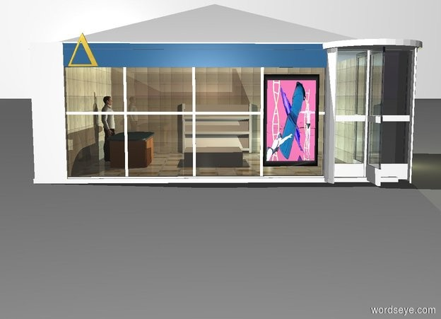 Input text: the white backdrop. a window. window's pane is clear linen. white 3 foot tall revolving door is -3 inch right of window. first 6 foot long and 3 foot tall 20% reflective [tile] wall is -3 inch left of window and -3 inch to back. wall is facing right. third 6 foot long and 3 foot tall 20% reflective [tile] wall is -10  inch right of revolving door and -10 inch to back. wall is facing right. fourth 8.2 foot long and 3 foot tall 20% reflective [tile] wall is -8 inch left of third wall and -8 inch to back. 8 foot wide and 1.5 foot tall  white pyramid is -2 inch above window and -2.8 inch to back. pyramid is 6.5 foot deep.  pyramid is -6.5 foot to right. 6 foot long and 0.5 foot tall square is 0.01 inch in front of window and 2.5 feet above ground. square is 0.1 inch deep. square is fjord blue. 0.7 foot tall gold uppercase delta is -0.1 inch in front of square and -1 foot to left. 2 foot tall and 1.2 foot wide painting is 0.1 inch in front of window and -1.5 foot to right. painting is 0.35 foot above ground. painting is [scene-86042]. primrose yellow light is 6 inch below pyramid. 8 foot wide and 8 foot long  20% reflective [concrete] floor is -3 inch behind window and -6.5 foot to right. floor is 6.5 foot deep. floor is 0.1 inch in ground. 1 foot tall and 3 foot long kitchen counter is -1.8 foot left of window and 1 foot to back. counter is 1 foot deep. counter is facing right. counter is 3 inch in floor. 1.8 foot tall man is left of counter.  man is facing right. man is 0.1 inch in floor. 1.8 foot tall white book cart is 0.7  foot right of counter and 1 foot to back. first powder blue  light is in front and right  of book cart. 0.6 foot tall and 1.5 foot wide white cube  is 0.9 foot right of counter. cube is 1.5 foot deep. pepper gray light is 1 foot above cube.