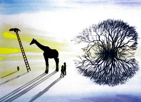 Plant backdrop. A person. Altitude of the sun is 12 degrees. Camera light is black. A woman is facing northwest. The woman is one foot right of the person. A black giraffe is 2 feet in front of the person. It is facing southeast. A ladder is two feet in front of the giraffe. An anteater is -10 inch above and -2 feet in front of the ladder. It is facing north. A vase is in front of the ladder. Backdrop is 20% shiny. Sky is navy.