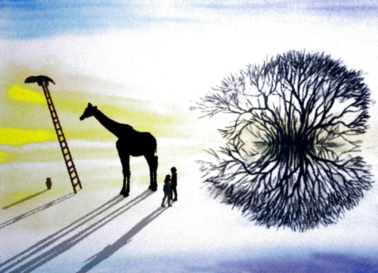Input text: Plant backdrop. A person. Altitude of the sun is 12 degrees. Camera light is black. A woman is facing northwest. The woman is one foot right of the person. A black giraffe is 2 feet in front of the person. It is facing southeast. A ladder is two feet in front of the giraffe. An anteater is -10 inch above and -2 feet in front of the ladder. It is facing north. A vase is in front of the ladder. Backdrop is 20% shiny. Sky is navy.
