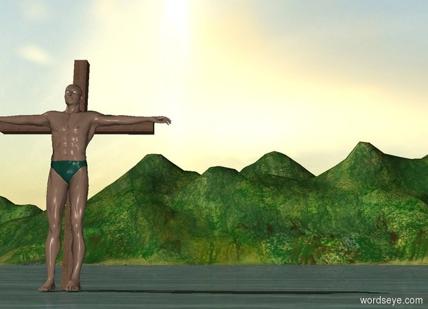 Input text: A man is in front of a 7 foot tall cross.
