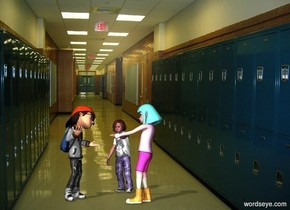 a boy.a 1st girl is 1 feet in front of the boy.she is facing the boy.school backdrop.pale shadow plane.a 2nd girl is 1 feet right of the 1st girl.she is facing the boy.the 2nd girl is behind the 1st girl.