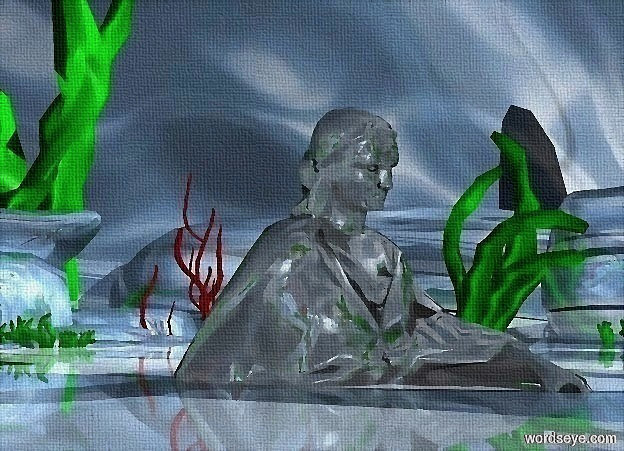 Input text: ground is 14000 inch wide shiny [water].a 1200 inch tall shiny  statue is -720 inch above the ground.sky is shiny water.sky is 3000 feet tall.the statue is facing north.