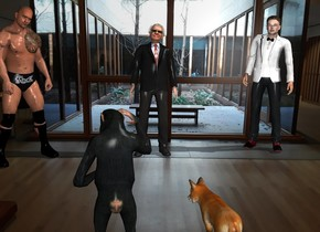 a fox is in a museum. A chimp is 1 feet to the right of the fox. Warren is 7 feet in front of the fox. Warren is facing the fox. Dwayne is 3 feet to the right of warren. Dwayne is facing the fox. Elon is 3 feet to the left of warren. Elon is facing the fox.