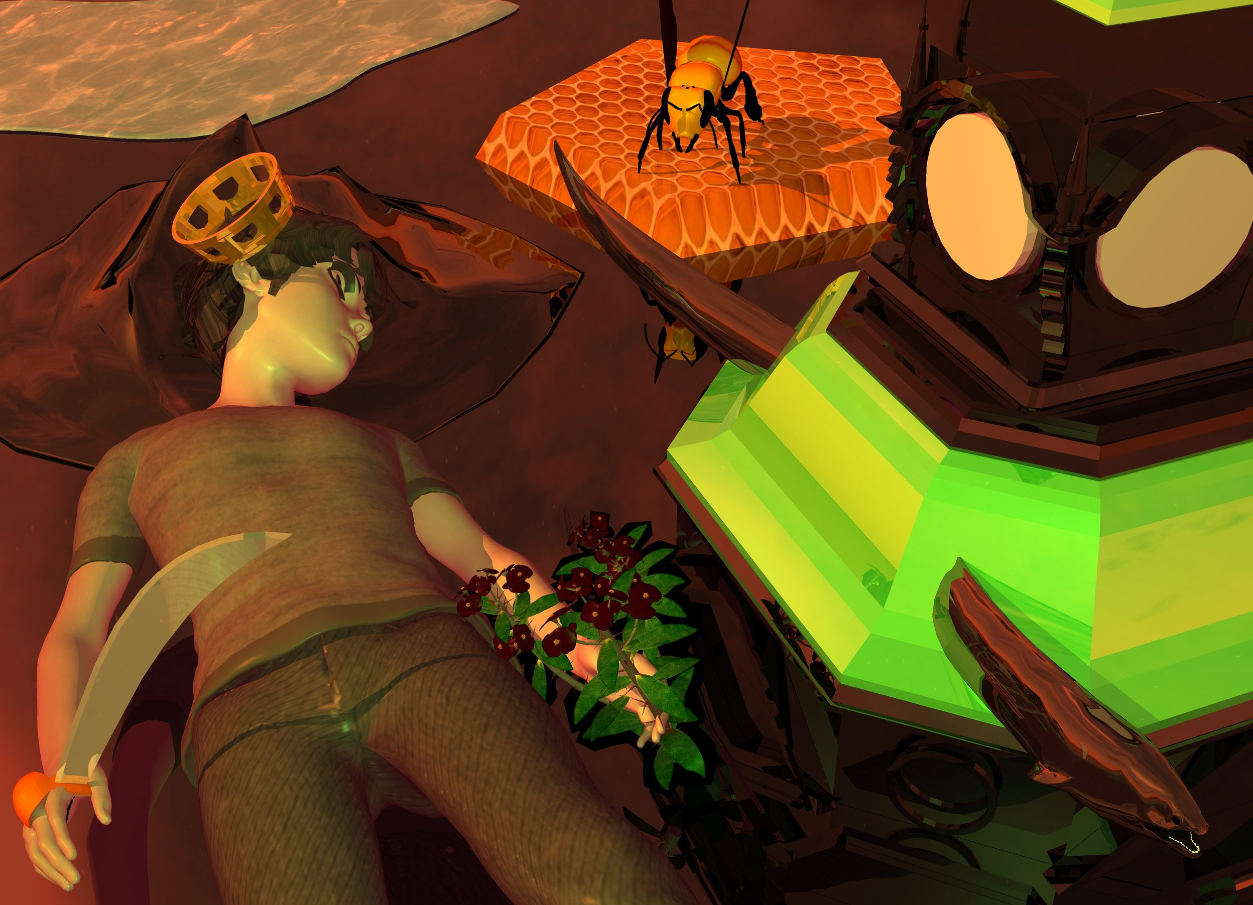 Input text: pale human is facing up. ambient light is dusty rose. sun is old gold. camera light is lime green. ground is black and shiny. 5 foot long shiny black structure is right of human. structure is 2 foot in ground. structure's roof is shiny lime green. pale shiny  fish is -0.6 foot left of structure's roof and -3.8 foot to front. dark flower is -2 foot left of human and -3 foot to back. flower is leaning 25 degrees to ground. 1 foot tall shiny sword is -0.75 foot left of human and -2.6 foot to back. sword is upside down. sword is leaning -40 degrees to east. sword is 5 inch above ground. sword's grip is black. sword's handhold is black.  3 foot wide shiny black wave is 0.5 foot behind structure and -1 foot to left. wave is 0.1 inch in ground. 0.45 foot wide gold crown is -5  inch  above human and -0.6 foot to back. crown is -0.9 foot to right. crown is leaning 30 degrees to right.  big dodecahedron is 0.9 foot behind structure and -2.2 foot to right. dodecahedron is 3 foot in ground. dodecahedron is 3 foot wide pale 10% reflective [honeycomb]. 1 foot long bee is -1 inch above dodecahedron and -2 foot to front.  bee is -2 foot to left. bee is facing human.  3 foot wide lake is 8 inch behind wave. lake is 2 foot wide 25% reflective [water]. lake is facing left.