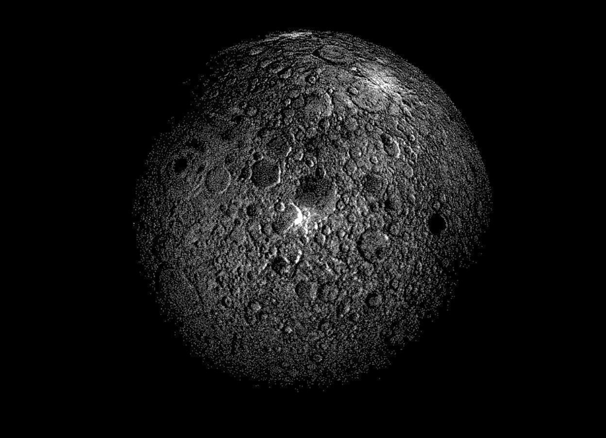 Input text: A moon. Ground is invisible. Sky is black.