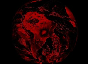An opaque earth. Ground is invisible. Sky is black. It is night. Camera-light is low. Camera-light is red.