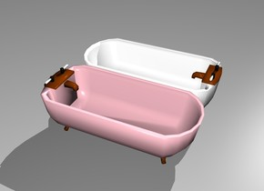 There is a first bathtub. The first bathtub is pink. There is a second bathtub. The second bathtub is white. The first bathtub is facing north. The second bathtub is facing south.