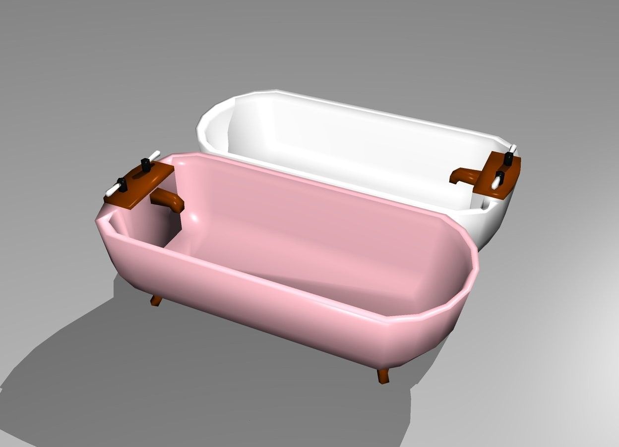 Input text: There is a first bathtub. The first bathtub is pink. There is a second bathtub. The second bathtub is white. The first bathtub is facing north. The second bathtub is facing south.
