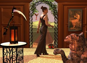 lantern is on table.  woman is 5 foot behind table and -1 foot to right. woman is facing northeast. 3 foot tall gryphon is 1.2 foot right of table and -0.5 foot to back. gryphon is facing back. gryphon is 1 foot wide [texture]. 7 foot tall black archway is 2 feet behind woman. first  7 foot tall and 10 foot wide   mocha brown door  is -6 inch left of archway. second 7 foot tall and 10 foot wide mocha brown door is -6 inch right of archway. 7 foot tall and 10 foot wide mocha brown first wall is -1 inch behind first door and -9.5 foot to left. 7 foot tall and 10 foot wide mocha brown second wall is -1 inch behind second door and -9.5 foot to right. 40 foot wide floor is -6 inch in front of archway and -1.3 inch above ground. floor is  5 foot wide dark  [texture]. ground is 10 foot wide [texture]. 4 foot deep and 100 foot long square is -1 inch behind archway. square is facing left. square is 3.5 foot wide [texture]. 6 foot wide  pistachio green common ivy is 1 inch behind archway and 2.5 foot in archway. common ivy is -4.8 feet to right. [texture] bird  is -16 inch left of archway and 12  inch behind archway.  bird is 4.3 feet above ground. bird is facing gryphon. cornucopia is -10 inch behind archway and -18 inch to right. cornucopia is facing woman. cornucopia's horn is [fabric]. [painting] painting is -4.5 inch in front of second door and -4.05 feet to left. painting is 2.55 feet above ground. 4.5 foot tall scythe is -4 inch in front of first door and -4.6  feet to right. scythe is 1 feet above ground. scythe is facing back.  scythe's handle is black. scythe's leaf is black. scythe's blade is shiny. scythe is leaning 25 degrees to right. sun is cinnamon brown. camera light is old gold. powder blue light is 1 foot in front of archway and 7 foot above ground. light is 1 foot to left. sand gold light is 1 foot in front of archway and 7 foot above ground. light is 1 foot to right. tiny terracotta light is in front of lantern.