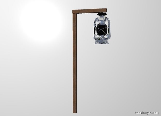 Input text: THE WHITE BACKDROP. Ground is invisible. a first stick.a 1 feet tall stick is above the first stick.the 1 feet tall stick is face up.the 1 feet tall stick is facing right.the 1 feet tall stick is -1.5 inches right of the first stick.a silver lantern is 6 inches right of the first stick.the lantern is 2.1 feet above the ground.