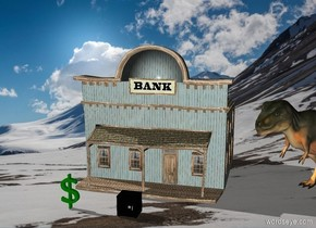 The  image  backdrop. the bank is in the forest. the safe is five feet in front of the bank. the big money is five feet to the right of the safe. the green dollar sign is five feet tall. the green dollar sign is 6 feet to the left of the safe. the t-rex is 1.5 feet to the right of the bank. the t-rex is facing southwest.