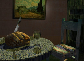 Bread is -0.2 inch above a 50% dark table. The table is 6 inch wide pattern. Wall backdrop is 25% dark. Camera light is black. A lemon light is 4 feet above and 4 feet behind the bread. A 75% dark 10% shiny wood chair is behind and -2 feet right of the table. A wood door is 4.5 feet behind the table. A painting is 3 feet left of and -4 inch above the chair. It is facing east. It is leaning 3.5 degrees to the left. A glass is right of and -1 inch behind the bread. The sky is mountain. A shiny knife is -4 inch above the bread. It is leaning 60 degrees to the right. It is facing southeast. Azimuth of the sun is 300 degrees.