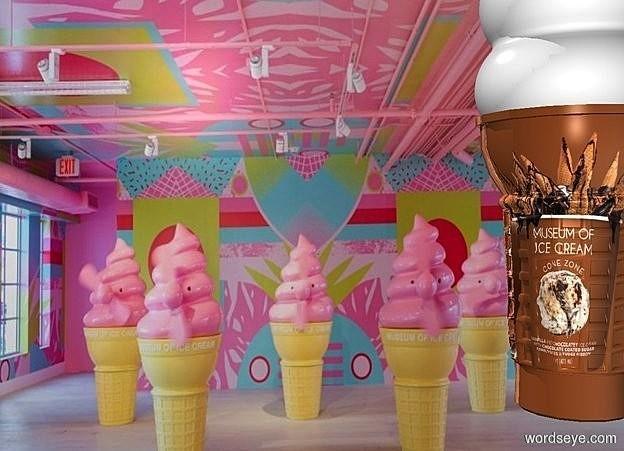 Input text: a  [mi2] backdrop.a 100 inch  tall shiny  [mi]  ice cream cone.sky is black.