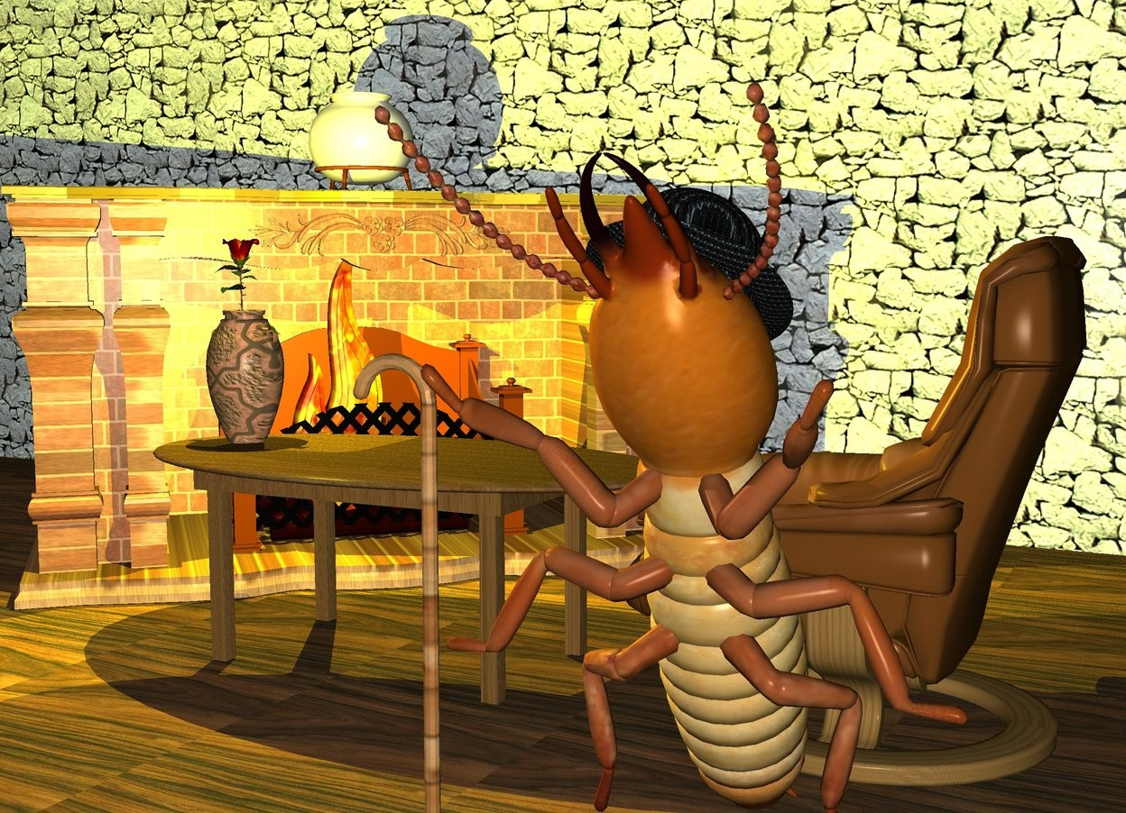 it is dusk. a 2 feet tall termite is facing up. it is leaning 30 degrees to the south. it is -0.1 inch above the ground. a 10 inches tall hat is -2.8 feet above and -4 feet in front of the termite. the hat is leaning 30 degrees to the north. the hat is 1 inch tall [texture]. a 5 feet tall walking cane is -1.4 feet in front of and -0.8 feet to the left of the termite. the walking cane is 1 inch tall [texture]. the ground is 10 feet tall [wood]. the 7 feet tall fireplace is 2 feet behind and 2 feet to the left of the termite. it is facing to the termite. the fireplace is 2.3 feet tall [bricks]. the mantel of the fireplace is gold. the 5 feet tall [fire] flame is -6 feet above and -8 feet to the right of the fireplace. the flame is -7 feet in front of the fireplace. it is facing to the termite. the giant wall is 15 feet behind the termite. the wall is 8 feet tall [stone]. the 1st tiny yellow light is above the flame. the 3 feet tall table is 0.7 feet behind and 2 inches to the left of the termite. the table is [wood]. the 6 feet tall chair is to the right of the table. it is facing to the table. the 2 feet tall [tile] vase is on the table. it is -2 feet to the left of the table. the 2 feet tall pot is on the fireplace.  the 2.6 feet tall rose is -1.5 feet above the vase. the 2nd yellow light is above the rose