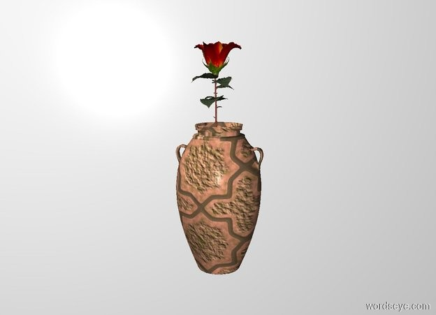 Input text: THE WHITE BACKDROP. ground is invisible. the 2.6 feet tall rose is -1.5 feet above the 2 feet tall [tile]  vase.