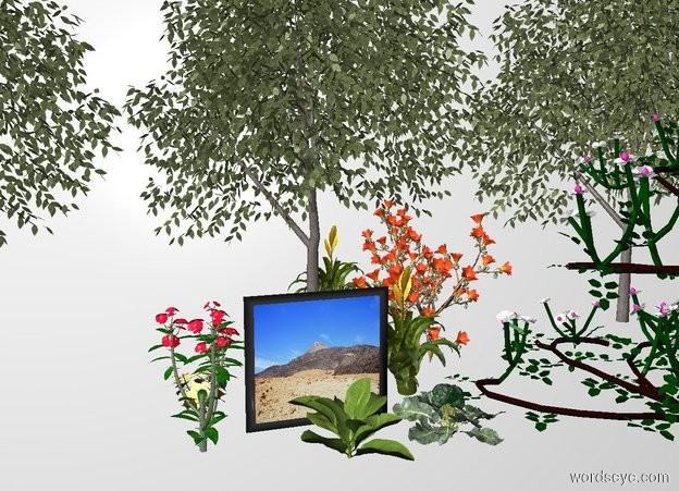 Input text: THE WHITE BACKDROP. ground is invisible. the [desert] painting. the painting is 22 inch tall and 24 inch wide. 3 very small beech trees behind the painting. the small rose is on the right  side  of  the painting. a large chili pepper is behind the painting. a cholla cactus is on right side of the painting. the large crown of thorns is on the left side of the painting. two small gardenias are on the right side of the painting. flaming sword is on the right side of the painting.a poinsettia on  the left side of the painting.  large spinach in front of the  painting. a broccoli right of  the spinach. a  flaming sword behind the broccoli