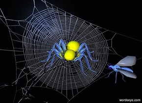 a [nt] backdrop.a 20 inch tall yellow spider.sun is delft blue.the leg of the spider is silver.a 15 inch tall shiny delft blue fly is 9 inch right of the spider.the fly is facing the spider.the leg of the fly is delft blue.the fly is -30 inch above the spider.