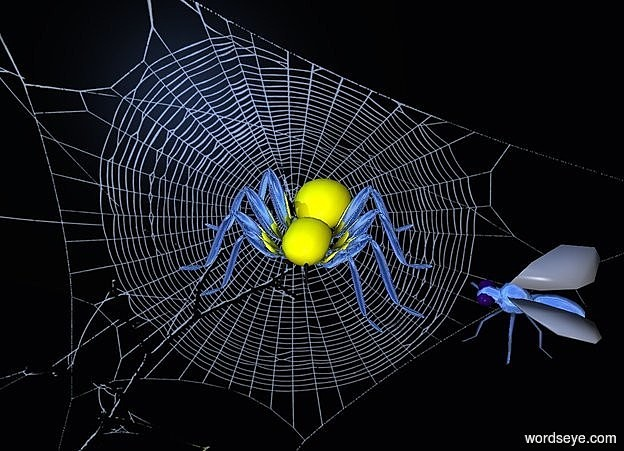Input text: a [nt] backdrop.a 20 inch tall yellow spider.sun is delft blue.the leg of the spider is silver.a 15 inch tall shiny delft blue fly is 9 inch right of the spider.the fly is facing the spider.the leg of the fly is delft blue.the fly is -30 inch above the spider.