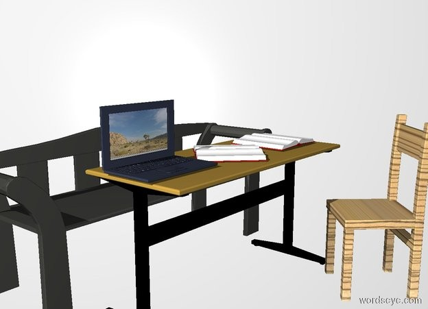 Input text: THE WHITE BACKDROP. ground is invisible. the table. the 1st bench is 3 inches behind the table. the chair is in front of and -15  inches to the right of the table. the chair is facing to the table. the table is 2 feet tall. the bench is cliff gray. the chair is [wood]. the chair is 2.5 feet tall. the bench is 2.2 feet tall and 5.5 feet long. the 1st book is on the table. it is facing up. the 2nd book is to the right of the 1st book.  it is facing up. the laptop is to the left of the 1st book.