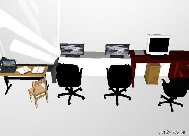 Input text: THE WHITE BACKDROP. Ground is invisible. 2nd desk is next to the 1st desk. A 3rd desk is next to it. A wall is behind the 2nd desk.