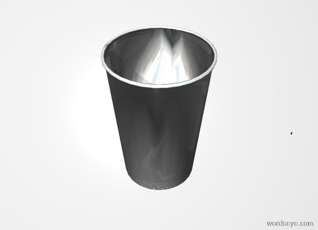 Input text: THE WHITE BACKDROP. Ground is invisible. 2 foot tall shiny gray cup.