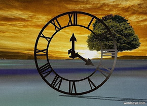 a 100 inch tall wall clock is on the ground. ground is [sg]. the sky is 3000 feet tall. it is facing northeast.