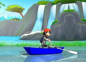 A boat is in the water ground.  a boy is in the boat.  the boy is facing left.