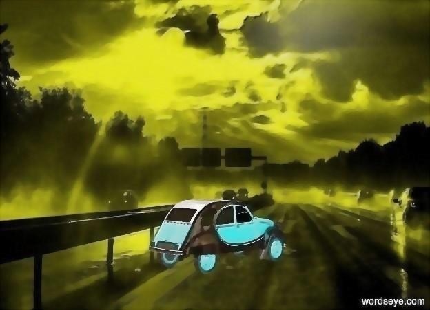 Input text: a [sh] backdrop.a 20 inch tall  shiny  powder blue car.
