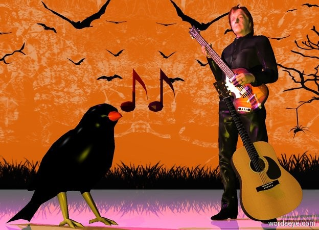 Input text: the 2.4 foot tall black bird is a foot left of the guitar.  the guitar is leaning right. Paul McCartney is behind the guitar.  he is facing southwest.  the bird is facing southeast. the small maroon note is above the bird. it is a foot left of the guitar. the small purple note is right of it.  the ground is shiny.  the camera light is black.  the yellow light is 2 feet in front of the bird. the magenta light is two feet above the bird.