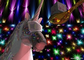 A clear yellow spoon is in the air. A tiny shiny unicorn is behind and -1 feet above the spoon. Camera light is black. A pink light is right of and in front of and -4 inch above the unicorn. An extremely tiny [sugar] cube is -2 inch behind and -0.1 inch above the spoon. The azimuth of the sun is 90 degrees. Ground is 50% scarlet.