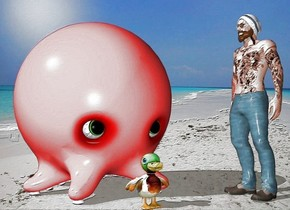 the person faces the duck. the person is right of the huge octopus. the beach backdrop. the person is in  front of the octopus.  the duck is in front of the octopus.  the sky.