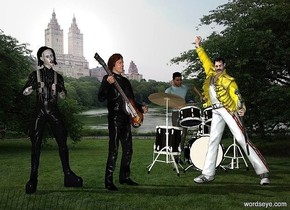 park backdrop.a person.he is facing southeast.a freddie is 1 feet right of the person.he is facing southwest.a drum is 1 feet behind the person.it is right of the person.the drum is facing north.a man is behind the drum.a marilyn is left of the person.