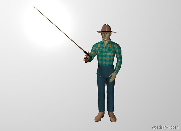 Input text: THE WHITE BACKDROP. Ground is invisible. A fishing rod is -2.5 feet above and -1 foot in front of and -6 inch left of the man. It is leaning back.