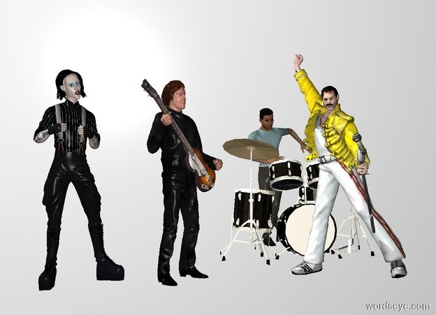 Input text: THE WHITE BACKDROP. ground is invisible. a person.he is facing southeast.a freddie is 1 feet right of the person.he is facing southwest.a drum is 1 feet behind the person.it is right of the person.the drum is facing north.a man is behind the drum.a marilyn is left of the person.