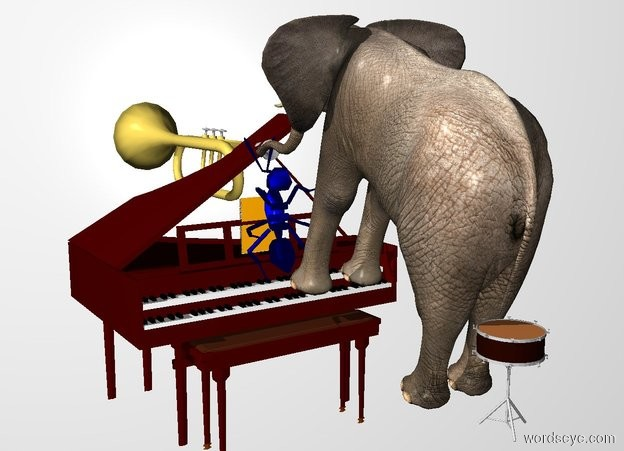 Input text: THE WHITE BACKDROP. ground is invisible. a 270 inch tall and 210 inch deep and 250 inch wide  harpsichord. a 190 inch tall elephant is -6.5 feet to the front of and -14 feet above the harpsichord. it faces back. it leans 20 degrees to the back. -30 inch above  the music stand of the harpsichord is a huge book.a 90 inch tall trumpet is -190 inch above the elephant.the trumpet is facing back.the trumpet is -15 inch to the back of the elephant.a 60 inch tall blue ant is -40 inch above the music stand of the harpsichord.the ant leans 90 degrees to back.the ant is in front of the book.a 60 inch tall snare drum is -55 inch in front of the elephant.