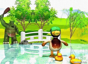 a 1st big duck is on a 70% dark shiny pond. ground is silver. a dull troll is behind and -10 feet left of the pond. it faces the duck. a  white japanese bridge is  behind the pond.  a 2nd duck is in front of the duck. a 3rd duck is in front of and right of the duck. it faces northwest. sun is linen. it is noon. the sky faces north. a small pale troll is 2 feet in front of and -2 feet right of the troll. the troll leans 75 degrees to the right. the troll is 2 feet in the ground. a very small  willow tree is right of the bridge. its leaf is lawn green. its tree trunk is tan.